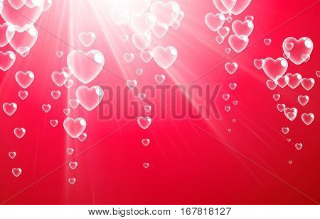 Pink Valentine's love background with bubbles of hearts. Vector illustration.
