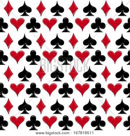 Playing card suits, signs, seamless pattern background. eps10