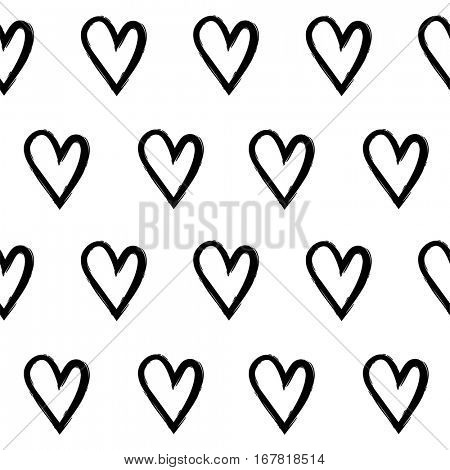 Abstract seamless pattern with hand draw hearts. Black and white. eps10