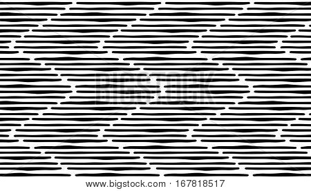 Abstract hand draw seamless zig zag pattern. Black stripes on white background. eps10