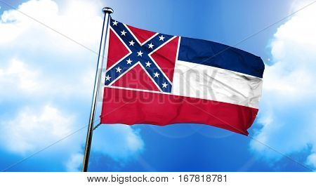 mississippi flag, 3D rendering, on a cloud background
