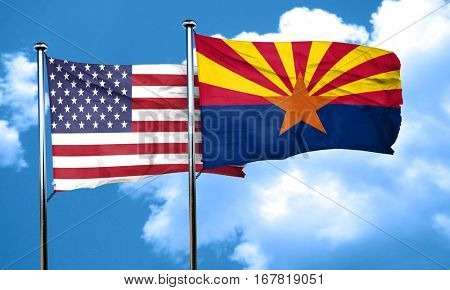 arizona with united states flag, 3D rending, combined flags