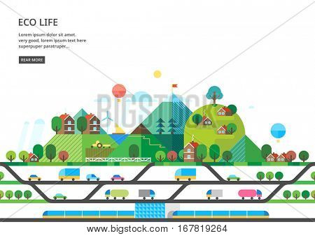 Ecological village away from the main traffic. Transport connection. Express roads. Railway communication. Rural areas with a developed agricultural sector