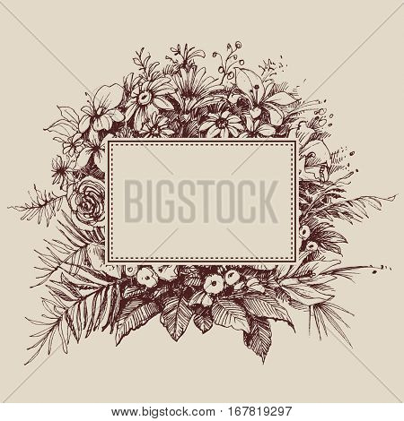 Vintage floral frame with space for text