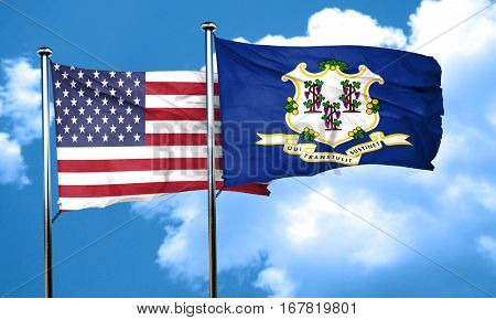 connecticut with united states flag, 3D rending, combined flags