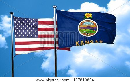 kansas with united states flag, 3D rending, combined flags