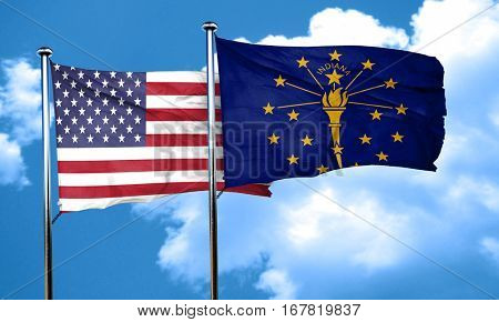 indiana with united states flag, 3D rending, combined flags