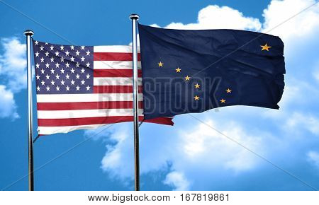 alaska with united states flag, 3D rending, combined flags