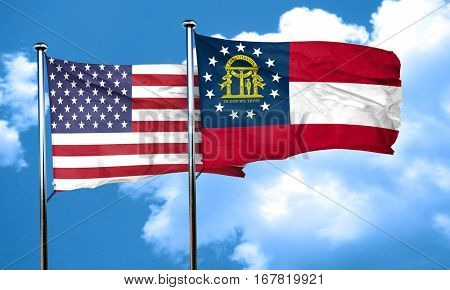 georgia with united states flag, 3D rending, combined flags