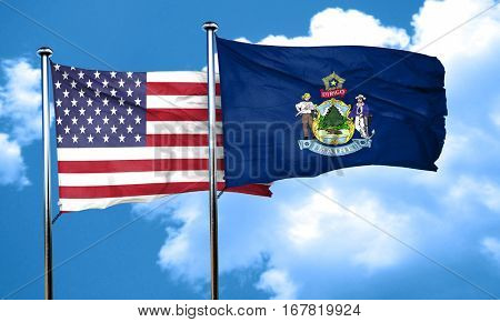 maine with united states flag, 3D rending, combined flags