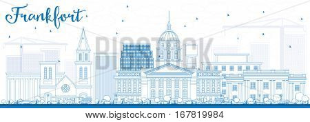 Outline Frankfort Skyline with Blue Buildings. Vector Illustration. Business Travel and Tourism Concept with Modern Architecture. Image for Presentation Banner Placard and Web Site.