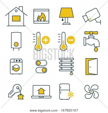 Effective House management system. Thin design Icons set.