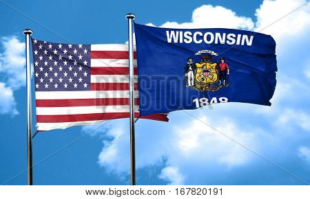 wisconsin with united states flag, 3D rending, combined flags