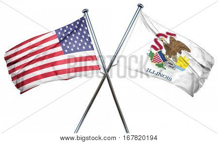 illinois and USA flag, 3D rendering, crossed flags