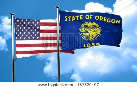 oregon with united states flag, 3D rending, combined flags