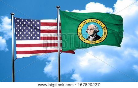 washington with united states flag, 3D rending, combined flags