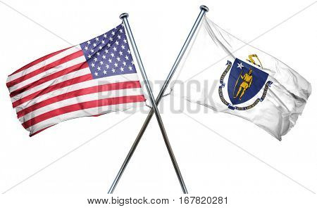 massachusetts and USA flag, 3D rendering, crossed flags