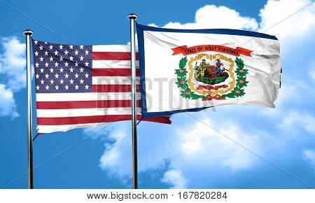 west virginia with united states flag, 3D rending, combined flag