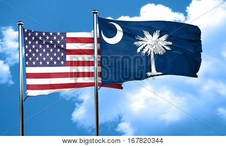 south carolina with united states flag, 3D rending, combined fla