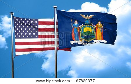 new york with united states flag, 3D rending, combined flags