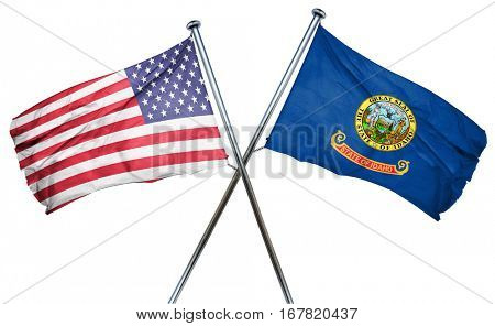 idaho and USA flag, 3D rendering, crossed flags
