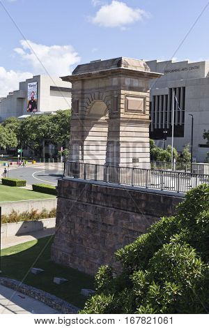 BRISBANE, AUSTRALIA - January 28, 2017: View of the 19th century pedestrian arch on the southern abutment of the old Victoria Bridge in Brisbane Australia