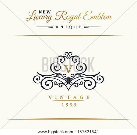 Calligraphic Luxury line logo. Flourishes gold frame. Emblem monogram. Royal vintage design. Black symbol decor for menu card, invitation label, Restaurant, Cafe, Hotel. Vector border V