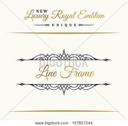 Calligraphic Luxury line logo. Flourishes border gold frame. Emblem monogram. Royal vintage design. Black symbol decor for menu card, invitation label, Restaurant, Cafe, Hotel. Vector illustration