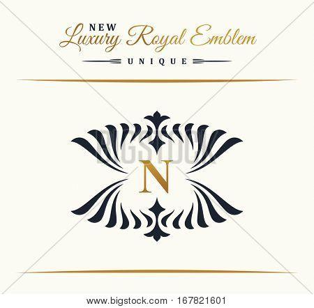 Calligraphic Luxury line logo. Flourishes gold frame. Emblem monogram. Royal vintage design. Black symbol decor for menu card, invitation label, Restaurant, Cafe, Hotel. Vector line letter N