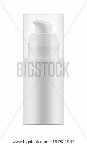 Vector realistic blank template of plastic bottle with dispenser for gel for shave. Mock-up of package. Empty and clean 3d white plastic container with pump for cream. Illustration isolated on white