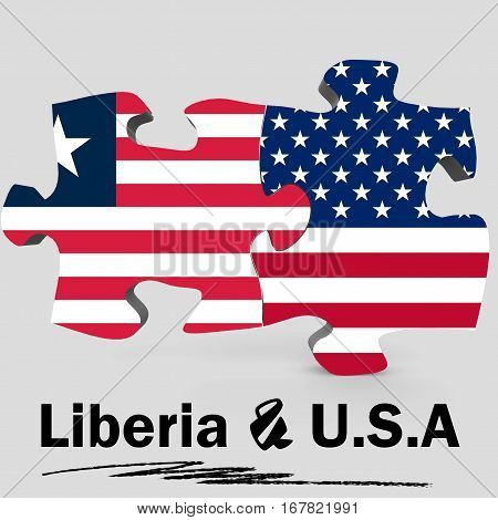 Usa And Liberia Flags In Puzzle