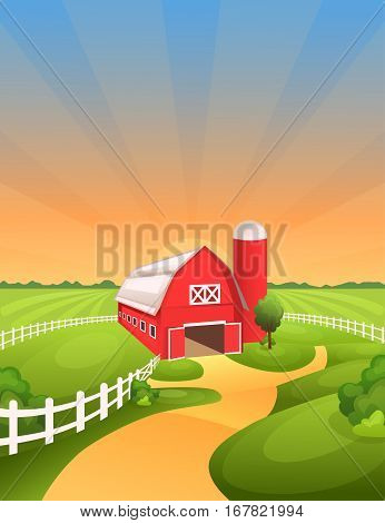 Farm landscape vector illustration. Bright and sunny rural background with barn fields pastures meadows