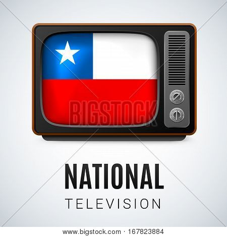 Vintage TV and Flag of Chile as Symbol National Television. Button with Chilean flag