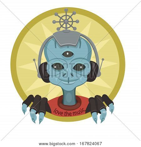 An alien from another world sitting with headphones and listens to music world he is happy with the beautiful music