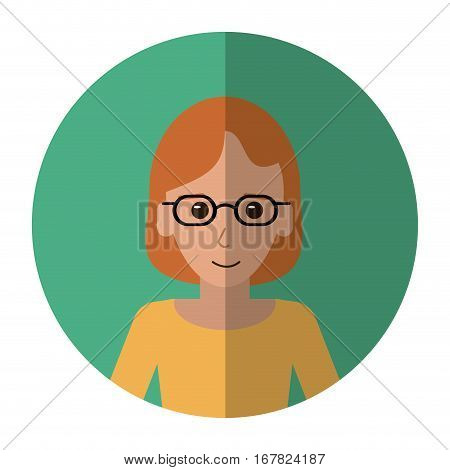 woman with glasses intelligent success shadow vector illustration eps 10