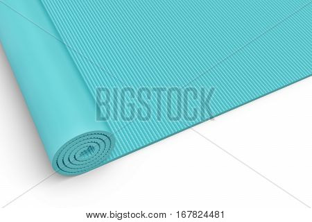 3d rendering of a blue half rolled yoga mat close up on white background. Fitness and health. Exercise equipment. Yoga and pilates.