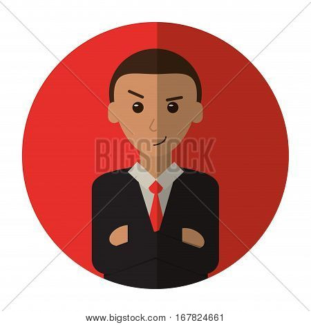 man business crossed arms suit necktie shadow vector illustration eps 10