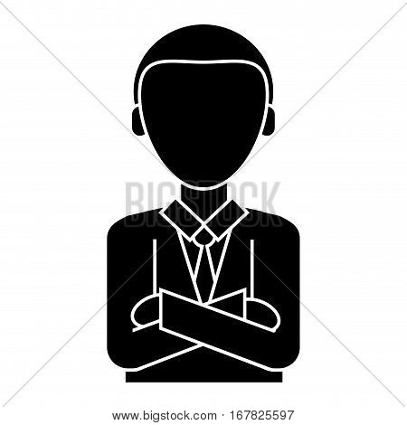 silhouette man business crossed arms suit necktie vector illustration eps 10