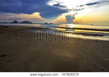 Sunrise and sand at Arunothai Beach in Chumphon Province Thailand.