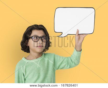 Little Boy Holding Chat Box Neutral Mood