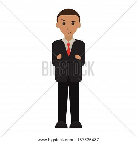 man business crossed arms suit necktie vector illustration eps 10