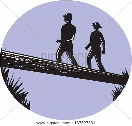 Illustration of two trampers hikers crossing a deep ravine on a single log bridge set inside oval shape viewed from low angle done in retro woodcut style.