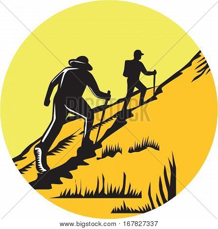 Illustration of hikers with hiking stick hiking up a steep trail set inside circle done in retro woodcut style.
