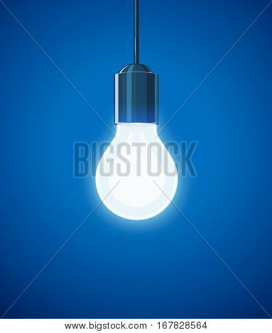 Saving power Shining Electric bulb. Light glass lamp. Economical energy. Vector illustration.