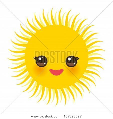 Kawaii funny yellow sun with pink cheeks and eyes on white background. Vector illustration