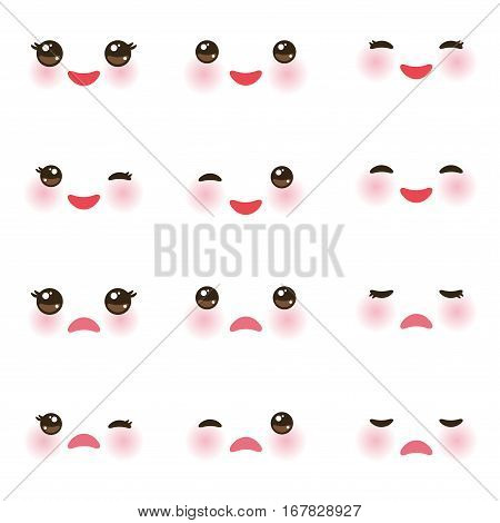Kawaii funny muzzle with pink cheeks and winking eyes on white background. Vector illustration poster