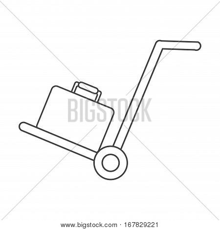 hand cart suitcase luggage travel equipment thin line vector illustration eps 10