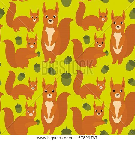 Seamless pattern Set of funny red squirrels with Gopher ground squirrel fluffy tail with acorn on green background. Vector illustration