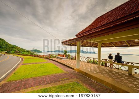Landscape view at Kao Khad Viewpoint of Phuket city Phuket province Thailand poster
