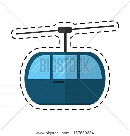 sky cable car transport mountain cutting line vector illustration eps 10